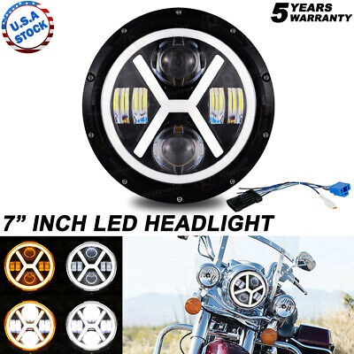 AU44.35 • Buy DOT 7  Inch Motorcycle Headlight Round LED Projector For Harley Cafe Racer