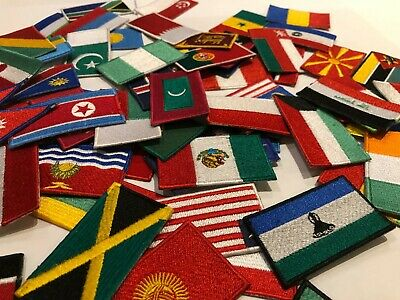 Country Flags Patches Iron Or Sew On Embroidery Patches Italy Japan France Spain • 1.99£