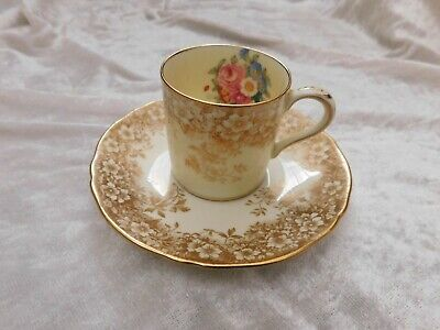Vintage Crown Staffordshire Floral Roses & Gold  Coffee Cup & Saucer • 4.99£