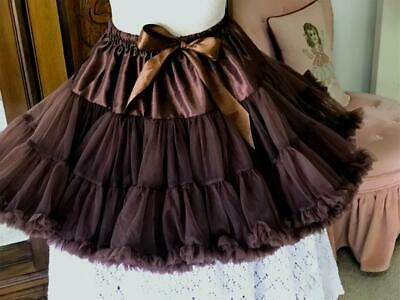 $14.99 • Buy Very Full Gathered Nylon Ruffled Petticoat ~ Brown ~ Square Dance ~ Medium