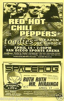 $14.51 • Buy Red Hot Chili Peppers /the Toadies & Spacehog 1995 San Diego Concert Tour Poster