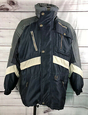 $28 • Buy Vintage Retro DESCENTE Ski Jacket Tons Of Pockets Black Gray White Large