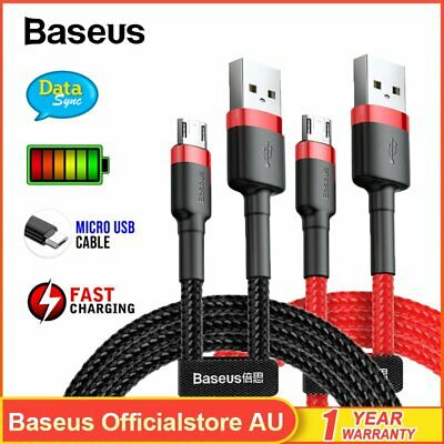 AU14.99 • Buy 2PACK Baseus Braided Micro USB Charger Cable Fast Charge For Android Samsung LG