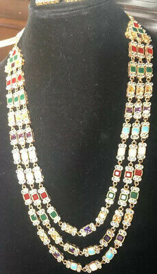 $55 • Buy Multicolor Traditional Wedding Necklace Earrings Bridal Jewelry Pakistani Indian