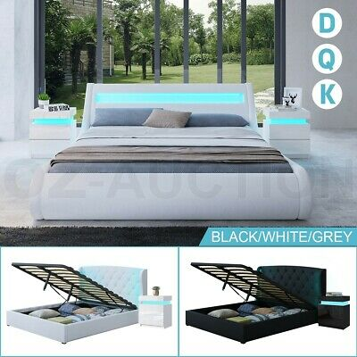 AU109.95 • Buy RGB LED Bed Frame PU Leather Gas Lift Base Bedroom Furniture Double Queen King