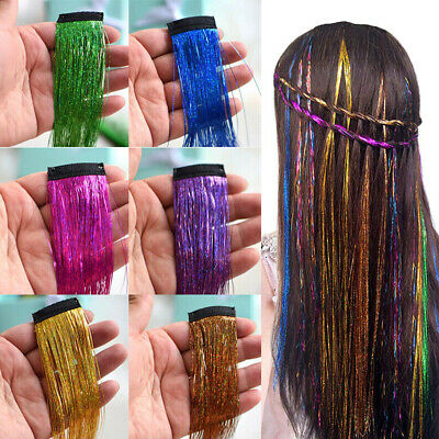 UK Clip In Hair Tinsel Sparkle Holographic Glitter Extensions Dazzles Partystyle • 4.29£