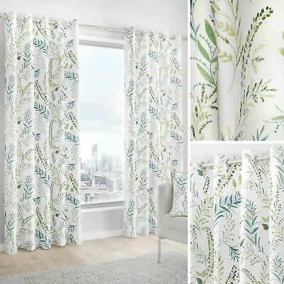 Green Eyelet Curtains Fern Leaf Cotton Ready Made Lined Ring Top Curtain Pairs • 19.95£