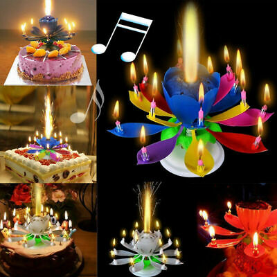 $ CDN3.40 • Buy Magic Lotus Flower Candle Rotating Birthday Musical Lotus Flower Cake Candle L7