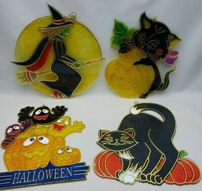 $12.99 • Buy Lot Of 4 Vintage Halloween Plastic Sun Catchers Prisms Ornaments Ghost Witch Cat