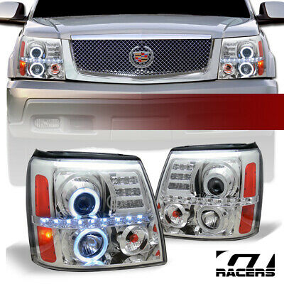 $265 • Buy For 2002-2006 Cadillac Escalade Chrome Housing LED Halo Projector Headlights Amb