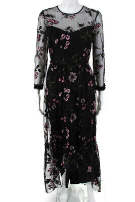$85.27 • Buy Shoshanna Midnight Womens Floral Mesh High Low Gown Black Size 4 10893795