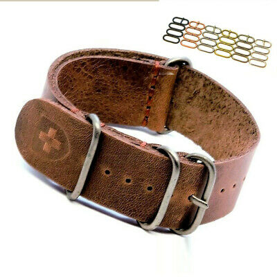 $13.99 • Buy Watch Strap,Genuine Leather Band,Military Style,18 20 22 24 Mm Fits Omega,Gift