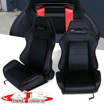 $344.99 • Buy 2X Type-R Fully Reclinable Racing Seat/Seats + Adjustable Slider W/ Red Stitch