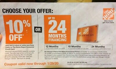 $29 • Buy HOME DEPOT 10% Off Card Purchase Or 24-Month Finance Online Coupon Exp 1/29/20