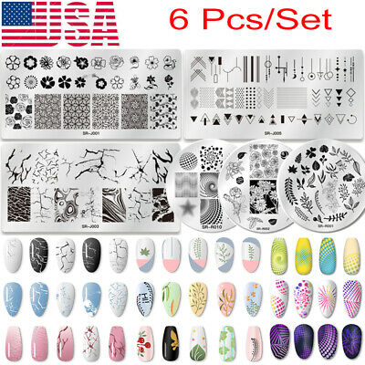 $11.99 • Buy 6Pcs Nail Art Stamping Plates Set Flower Marble Geometry Image Stamp Template US