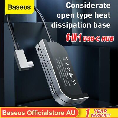 AU62.69 • Buy Baseus 6in1 Type C HUB Adapter SD TF HDMI USB 3.0 HUB For IPad Pro Mac Laptop