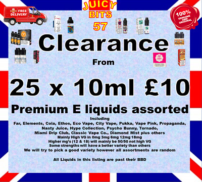 Elements, Far, Tornado, Nasty , IVG, Dinner Lady & More E Liquids Clearance • 1.99£