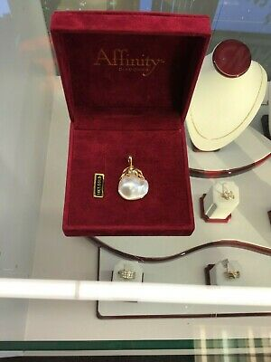 $300 • Buy Large Pear Shaped Mabe Pearl Pendant Enhancer 14k Gold With Diamond Accents