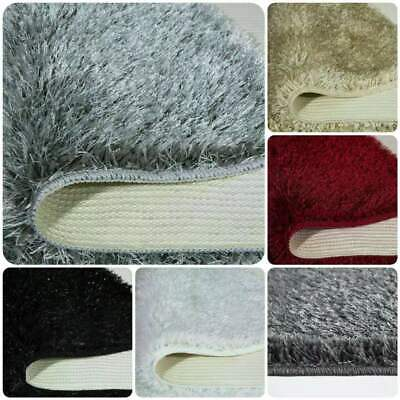 Large Non Slip Thick Shaggy Sparkle Rugs Runners Living Bedroom Hall Bath Mats • 13.50£