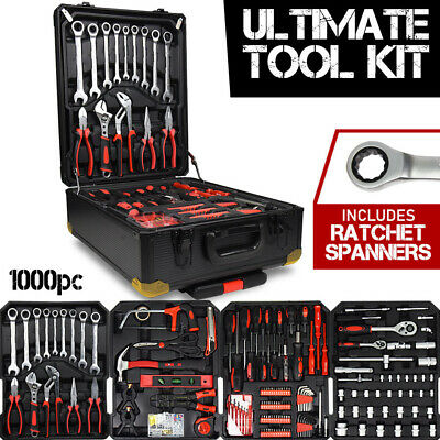 AU129.95 • Buy 1000pc Tool Kit With RATCHET SPANNERS - Hand Tools Set  Box Toolbox Toolkit