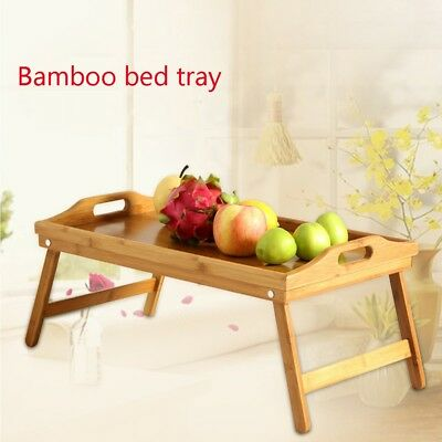 $19.99 • Buy Portable Bamboo Laptop Desk Table Stand Folding Breakfast Serving Sofa Bed Tray