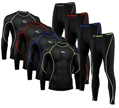Mens Compression Winter Thermal Base Layer Tights Shirt Pant Under Full Suit • 10.99£