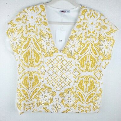 $24.99 • Buy ZARA Collection Yellow Gold Lace Cape Sleeve Blouse Women's Size Large NWT