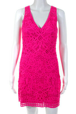 $29.99 • Buy Lilly Pulitzer Womens Sleeveless V-Neck Lace Shift Dress Pink Size Small