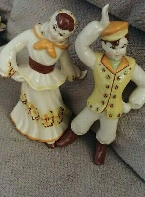$5.25 • Buy Nice Cute  Vtg Ceramic Arts  Studio 2 Polish Dancing Boy Girl Figurines