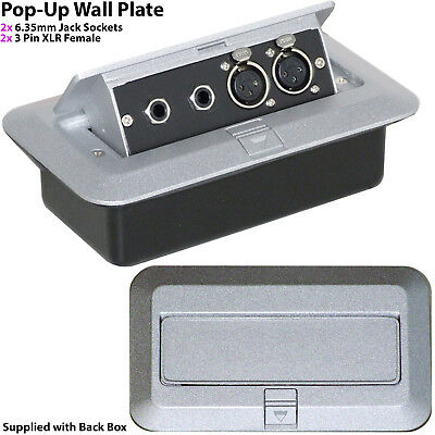 PRO 2 Gang Pop-Up Wall/Floor Plate & Back Box – 2x 6.35mm & 2x XLR Female Outlet • 46.99£