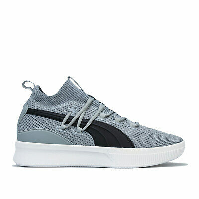 Mens Puma Clyde Court Basketball Trainers In Grey Black White- Breathable • 33.94£