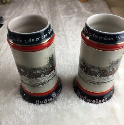 $ CDN93.74 • Buy Lot Of 2 1990 Budweiser Holiday Stein