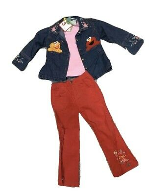 $72.71 • Buy Sesame Street Elmo And Zoe 3 Piece Set Girls 4T New With Tags Pants Jacket Top