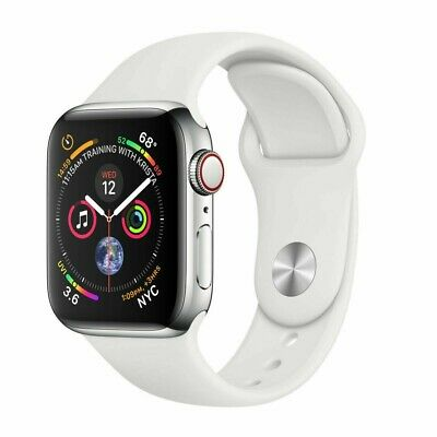 $ CDN551.56 • Buy Apple Watch Series 4 40 Mm Stainless Steel Case White Sport Band GPS + Cellular