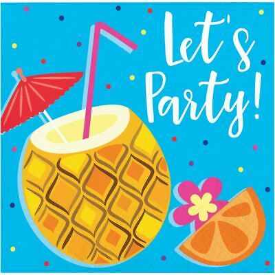 Let's Party Summer Drinks 16 Ct Paper Beverage Napkins Pool Luau • 2.86£