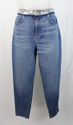 $ CDN91.30 • Buy IRO Jeans Women's Medium Wash Silver Sequin Waist Slim Leg Jean Size 28