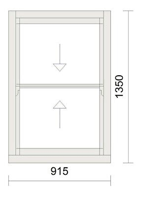 Timber Sash Window - Pre Finished In White - Double Glazed - 915mm W X 1350mm H • 675£