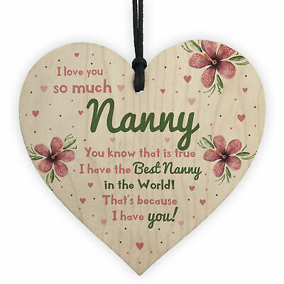 £3.99 • Buy Special Gift For Nanny Wood Heart Nan Birthday Gift Grandparent Plaque Love Sign