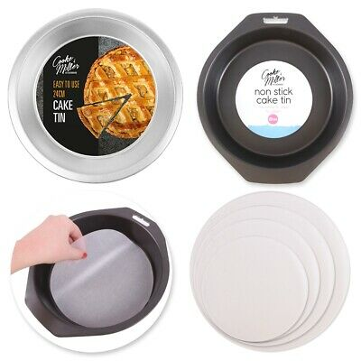 £6.21 • Buy NON-STICK ROUND CAKE TINS Deep Shallow Small Large Tart Pie Oven Safe Dish Liner