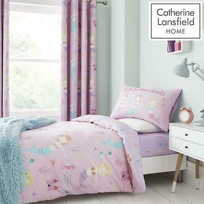 Catherine Lansfield Let's Be Mermaids Pink Duvet Covers Kids Quilt Bedding Sets • 15.95£