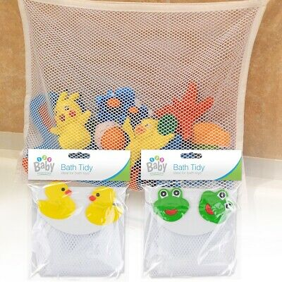 BABY BATH TIDY Duck/Frog Cute Mesh Net Suction Cup Bathroom Toy Storage Organise • 3.98£