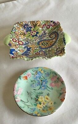 Vintage Art Deco Shelley  Melody  Coaster Pin Dish & Paisley Shawl Dish • 11.50£