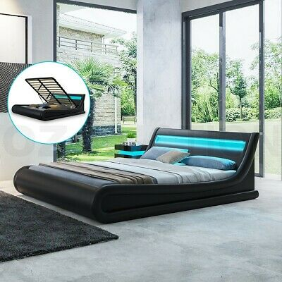 AU419.95 • Buy LED Light Bed Frame Gas Lift Storage Black PU Leather Bedroom Furniture Queen