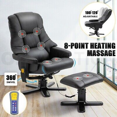 AU269.95 • Buy Massage Recliner Chair PU Leather Full Body 8-Point Heated Office Chair Black