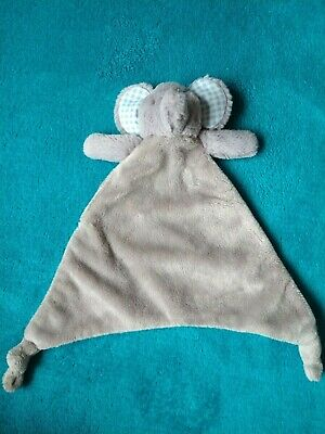 £16.99 • Buy Mothercare Grey Elephant Comfort Blanket With Blue Checked Ears       (4/2)