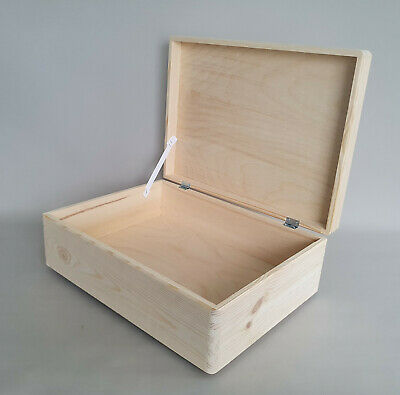 Wooden Box With Lid But No Handles Storage Chest 40x30x14cm Boxes Natural Wood • 14.99£