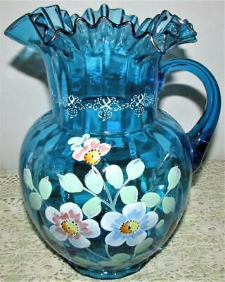 $95 • Buy Antique Victorian Blue Glass Pitcher Enamel & Gilt Hand Painted Globular Form