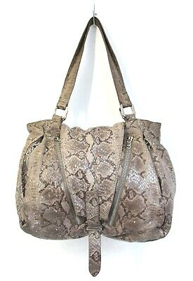 $39.99 • Buy Roomy Treesje Snake Print Beige Brown Genuine Leather Tote Shoulder Bag Handbag