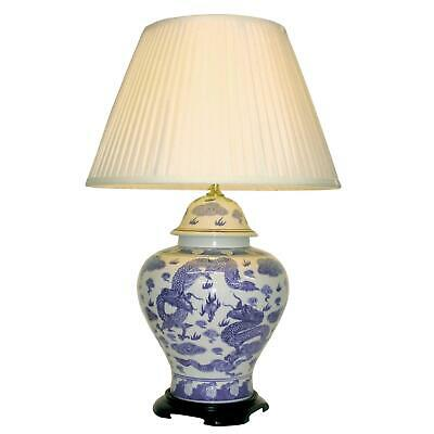 Chinese  Ceramic Jar Table Lamp With Shade - Blue Dragons Pattern - 69cm • 150£