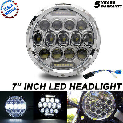 AU38.12 • Buy Chrome 7 Inch Round LED Headlight DRL H4/9003 Fit For Harley Davidson Motorcycle